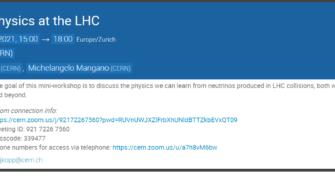 THÔNG BÁO MINI-WORKSHOP VỀ VẬT LÝ NEUTRINO TẠI MÁY GIA TỐC LHC, 15/01/2021